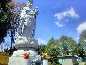 霊苑を見守る聖観音像
